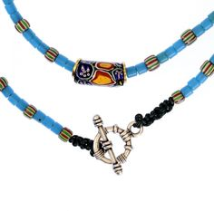 Light Blue Flat Ended Beads, Venetian Millefiori #1329 | Chains | Jewelry — http://www.decoartafrica.com    € 45,00