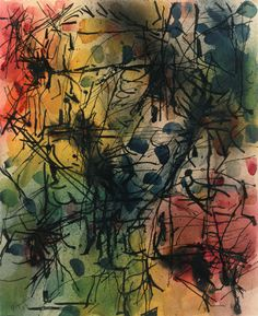 Jean-Paul Riopelle Untitled, watercolor and ink on paper. Canadian Painters, Canadian Art, Quebec, Abstract Expressionism, Abstract Art, Art Informel, Tachisme, Watercolor And Ink, Contemporary Paintings