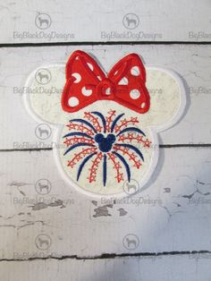 July 4th Girl Mouse Head Embroidered Iron On by BigBlackDogDesigns