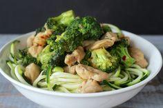 chicken and broccoli zucchini noodles