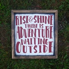 Wood Sign | Rise and Shine there is adventure waiting outside | Playroom sign | Boys room Decor | Vintage airplanes theme | Woodland Nursery by CASignDesign on Etsy https://www.etsy.com/listing/246125058/wood-sign-rise-and-shine-there-is
