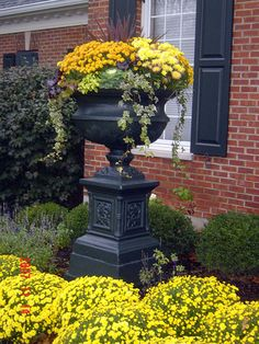 Fall urn. Love the garden mums and flowering kale.
