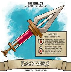 Needle Dagger- Magic Item for D&D Edition - Dungeons and Dragons. Game of Thrones reference, but not really! Dnd Dragons, Dungeons And Dragons Homebrew, Dungeons And Dragons Characters, D&d Dungeons And Dragons, Dnd Characters, Fantasy Weapons, Fantasy Rpg, Dnd 5e Homebrew, Dragon Games