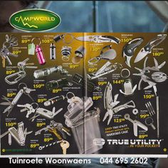 No camping equipment would be complete without these items. Tuinroete Woonwaens Campworld MB has great special offers on a range of utility knives and gadgets. Visit our showroom and see for yourself.