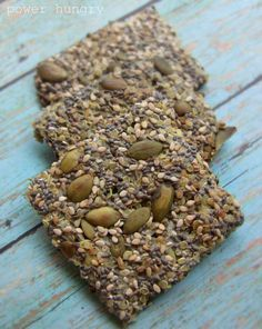 Multi-seed Quinoa Power Crisps! (aka quinoa power crisps) These are very very easy to make--just quinoa, seeds, salt and water! So yummy and easy--50 calories per big cracker, plus 3 g protein and 3 g fiber.