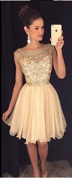 Charming Champagne Gold Homecoming Dress ,Cap Sleeves Rhinestones Homecoming Dresses,High Neck Short Prom Dresses,Sweet 16 Dresses,56