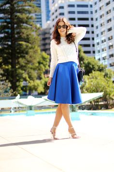 FASHION FIX: Scuba Fabric! This cobalt skirt can take you right into fall when topped with a light cable knit sweater.