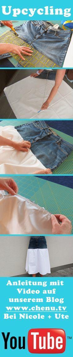 Auch wenn die Jeans schon sehr kaputt ist, kann man noch was daraus machen. Für den Rock braucht man nur den oberen Teil. Wenn Die Beine noch ok sind, machen wir noch andere Projekte daraus. Video: https://youtu.be/fWPrgDhikxo