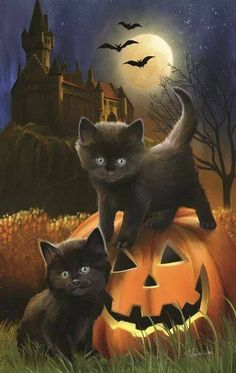 Halloween-Black Cats, haunted Castle and Jack-O-Lanterns