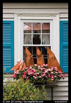 quenalbertini: Window with decorative sailboat & flowers in Bar Harbor, Maine Cozy Cottage, Coastal Cottage, Coastal Homes, Coastal Style, Seaside Decor, Coastal Decor, Window Box Plants, Window Boxes, Garden Windows