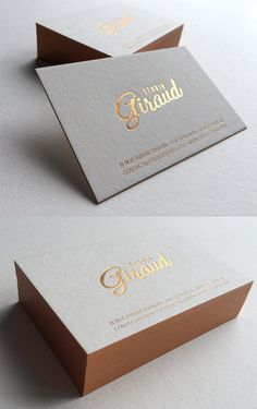 Beautiful Typography On A Copper Foil Stamped Edge Painted Business Card