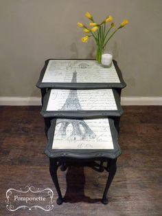 Eiffel Nest of Tables in @Annie Compean Compean Compean Sloan Graphite #chalkpaint.
