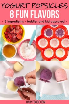 These Yogurt Fruit Popsicles are the perfect healthy treat for toddler and kids this summer! They are easy to make with only 3-ingredients and with a prep time of less than 5 minutes. Great for after school snacks this spring. PLUS.. there are 8 easy fruit flavors you have to try! Healthy Cookies, Healthy Treats, Healthy Store Bought Snacks, Yogurt Popsicles, On The Go Snacks, Toddler Snacks, After School Snacks, 3 Ingredients, Food Processor Recipes