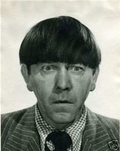 Moe Howard in publicity photo appearing shocked. The Three Stooges, The Stooges, Joe Besser, Moe Howard, Osmond Family, Abbott And Costello, Classic Comedies, Laurel And Hardy, Columbia Pictures