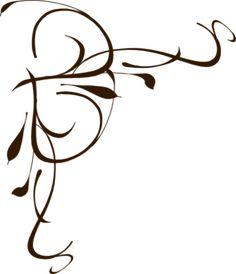 Left Brown Floral Swirl clip art - vector clip art online, royalty free & public domain