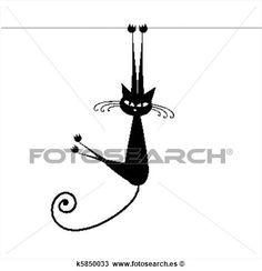 divertido, gato, silueta, negro, para, su, diseño Ver  Clip Art Gráficos en Grande