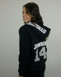 Bridesmaids hoodie jackets with name and by BrideAndEntourage