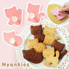 Most Wanted: Nyankies Cat Cookie Cutters The nice thing about these cat cutters is that they come with a built in stamp, so you can easily get some great looking cookies.
