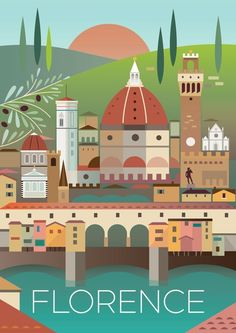 Vintage Travel FLORENCE POSTER - Digitally printed in the USA on matte cardstock and suitable for framing or displaying as is. Custom printed, so please allow two weeks for delivery. Poster Art, Retro Poster, Art Deco Posters, Poster Prints, Poster Series, Design Posters, Dorm Posters, Design Quotes, Italia Vintage