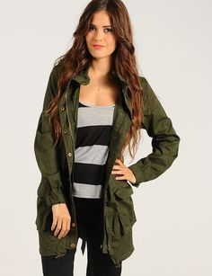 Military Green Off Duty Parka Jacket | $18.50 | Cheap Trendy Jackets Chic Discount Fashion