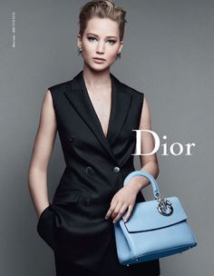 Jennifer Lawrence channels an androgynous look for her fourth campaign for the Dior. The gorgeous new handbag, the Be Dior Flap bag, is just as eye-catching. Milan Fashion Weeks, New York Fashion, Teen Fashion, Runway Fashion, Fashion Models, Womens Fashion, Fashion Trends, Fashion Today, Miss Dior