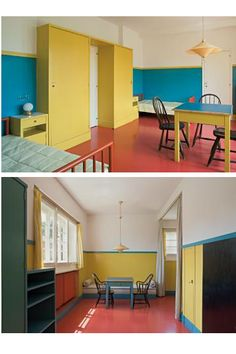 The Villa Müller, 1930, Adolf Loos / There are two children's rooms - a bedroom and a playroom - linked to each other by a doorway. The furniture in the children's rooms is made of soft wood in smooth, geometric shapes, lacquered in bright yellow, blue and green; The red linoleum - which for reasons of hygiene had no carpet over it.