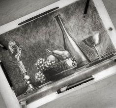 Tablescape drawing by Sanskriti Ag. Reference from a Harold Ross photograph. I loved to make realistic art in graphite when I was 15.