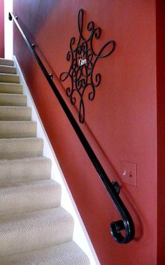 Hand Forged Scroll Wrought Iron Handrail, Railing - Arc and Hammer Designs Iron Handrails, Wrought Iron Stair Railing, Wrought Iron Decor, Metal Stairs, Metal Railings, Stair Handrail, Staircase Railings, Staircase Design, Staircases