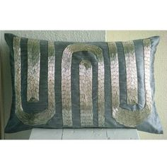 Silver Turns - 12x18 Inches Throw Pillow Covers - Oblong / Lumbar Silk Pillow Cover with Pipe Sequin Embroidery by The HomeCentric, http://www.amazon.com/dp/B0043NIBTW/ref=cm_sw_r_pi_dp_MsIrrb1V5EWXT