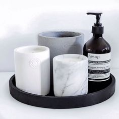 Black concrete round tray, white concrete candle and concrete pot from Immy and Indi @immyandindi