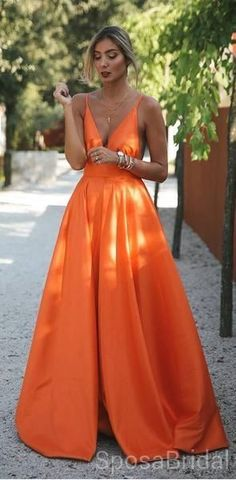 9d282a273a99 Orange Charming Cheap Modest Spaghetti Straps Pretty High Quality Long Prom  Dresses,PD1266 #promdresses