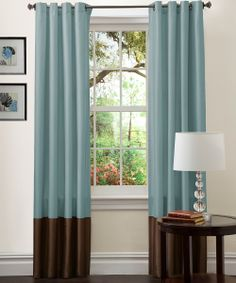 Blue & Chocolate Prima Curtain Panel