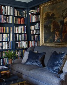 This moody space from Aerin Lauder's stylish New York City apartment always stops me in my pinning tracks. The entire Upper East Side abode is as chic as can be, but this room, which can be found in her book, is a particular favorite. The navy walls, artwork, jute rug, and endless bookshelves make it the dreamiest spot to curl up …