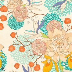 Removable Floral Wallpaper Bloom Peel & Stick by AccentWallCustoms