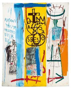 Jean-Michel Basquiat, 'Four Big', Acrylic, Oil stick and Paper Collage on Three joined canvases, Overall: 78 x x Christie's Jean Michel Basquiat Art, Jm Basquiat, Henri Matisse, Ben Day Dots, Jonas Wood, New York Art, Museum, Exhibition Poster, London Art