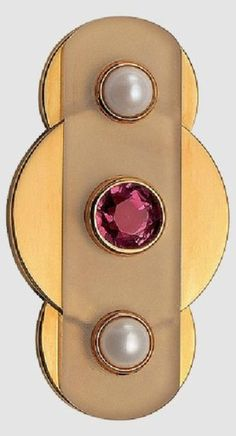 An Art Moderne gold, rock crystal, tourmaline and pearl brooch, by Jean Fouquet, Paris, circa 1937.