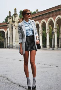Socks and pumps, great skirt and blazer