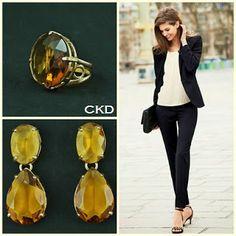 Maxi brincos e anel regulável com cristais citrino! www.ckdsemijoias.com.br