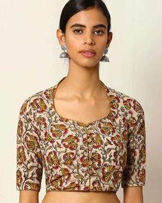 Buy Women's Blouses online in India. Kalamkari Blouse Designs, Sari Blouse Designs, Fancy Blouse Designs, Kurta Designs, Blouse Styles, Kalamkari Blouses, Kalamkari Dresses, Choli Designs, Blouse Patterns