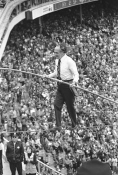 Karl Wallenda has the fans attention as he walks a high wire across Candlestick Park in San Francisco on May 8, 1977 during intermission of double header between the New York Mets and San Francisco Giants.