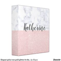 Shop Elegant girly rose gold glitter & white marble 3 ring binder created by Elipsa. Middle School Supplies, Cool Office Supplies, Cute Binder Ideas, Marble Desk, Binder Inserts, 3 Ring Binders, Binder Design, Custom Binders, School Supplies