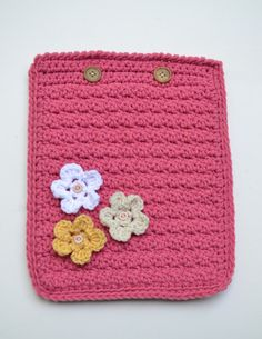 Crochet iPad Case Cozy Cover Pink White Yellow by LittlestSister, $18.00
