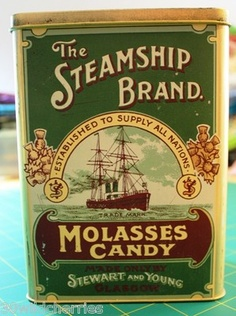 The Steamship Brand Molasses Vintage English Casister Tin