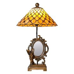 River of Goods Stained Glass Cherub Mirror Table Lamp - 15036