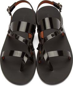 Valentino: Black Leather Studded Gladiator Sandals