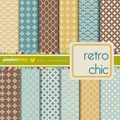 Retro Chic - Vintage Patterns Digital Scrapbooking Set. $4.95, via Etsy.