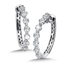 Caro74 Locking Reflection Diamond Round Hoops in 14K White Gold with Platinum Post (1.68ct. tw.) Style Number CFH3275W
