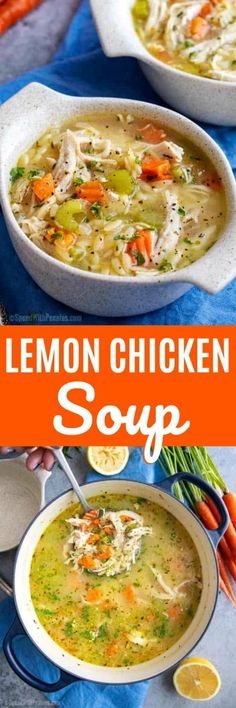 Lemon Chicken Soup – Spend With Pennies Comforting and light, this Greek Lemon Chicken Soup is ready in about 30 minutes! Lunch Recipes, Crockpot Recipes, Soup Recipes, Chicken Recipes, Cooking Recipes, Healthy Recipes, Healthy Food, Recipies, Greek Lemon Chicken Soup