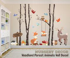 WOODLAND NURSERY Decor Wall Decal TREES Fox Nursery Trees Personalized Decor Fox Deer Owl Birds Squirrel Premium design Wall Art Decor by AmericanDecals on Etsy https://www.etsy.com/listing/466405440/woodland-nursery-decor-wall-decal-trees