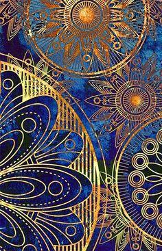 Blue and gold Mandala pattern ◆ lines ◆ geometric shapes ◆ radial symmetry ◆ color contrast ◆ proximity ◆ overlap ◆ touch ◆ proportion ◆ unity ◆ balance Mandala Art, Mandela Patterns, Art Fractal, World Of Color, Sacred Geometry, Night Skies, Oeuvre D'art, Blue Gold, Navy Blue